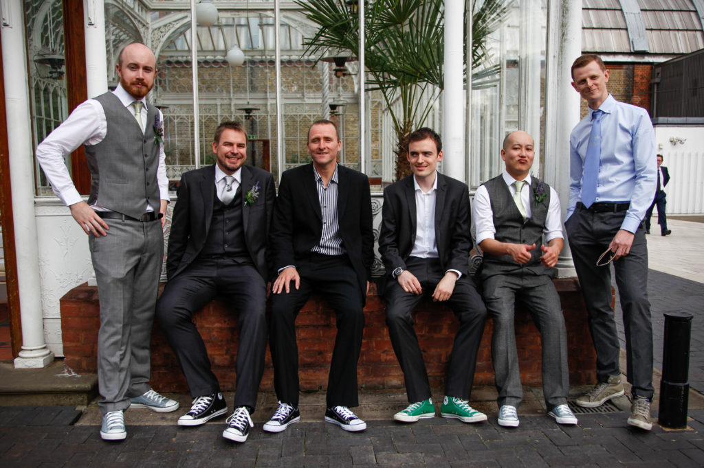 Groom and ushers in converse